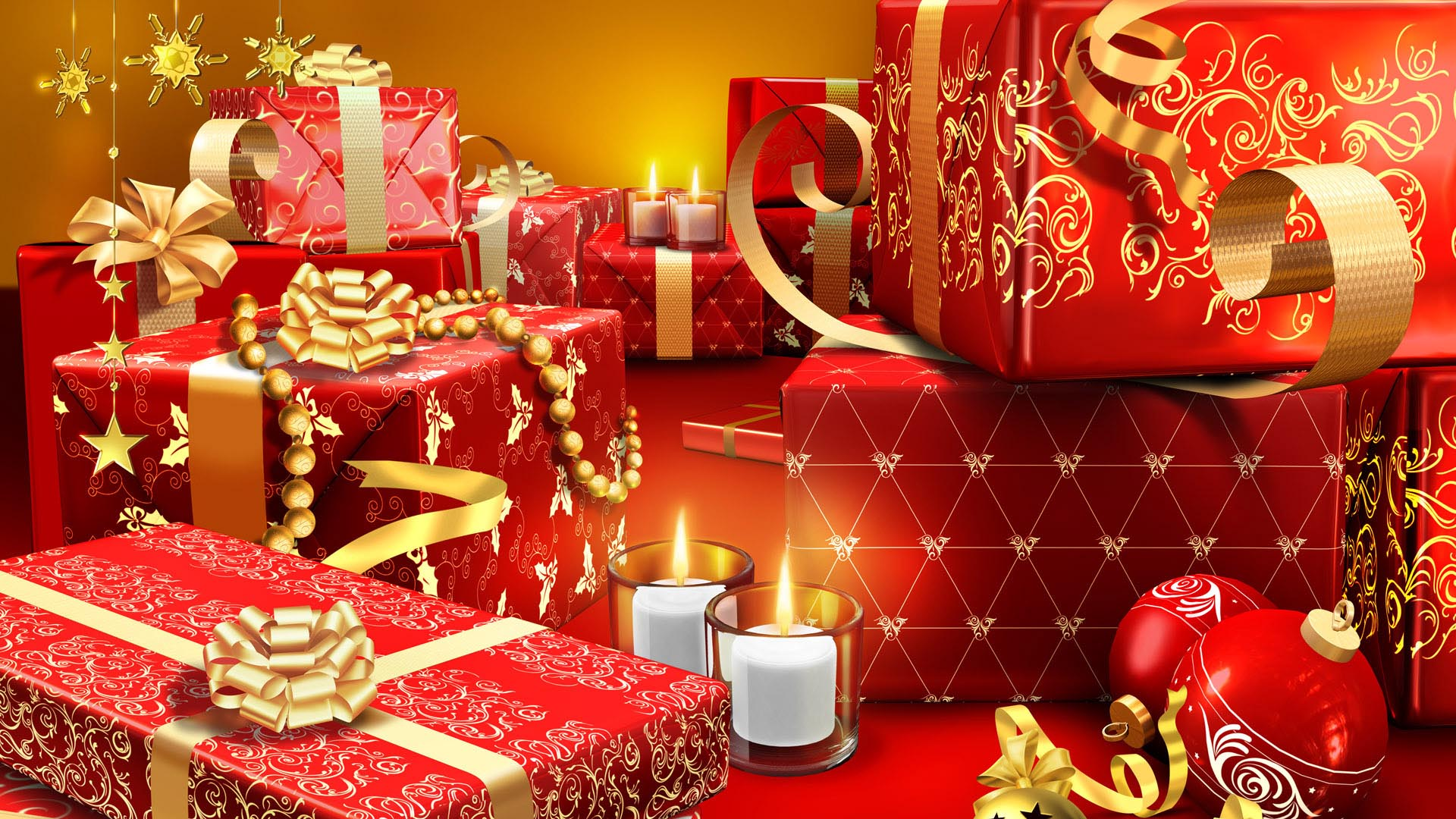 christmas presents wrapped in red hd large resolution wallpaper.