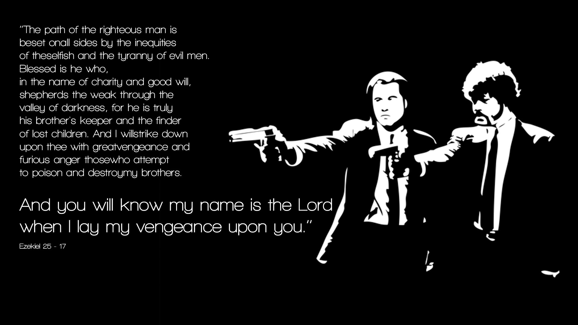 pulp fiction wallpaper 1920x1080 pulp, fiction, quotes, bible, ezekiel