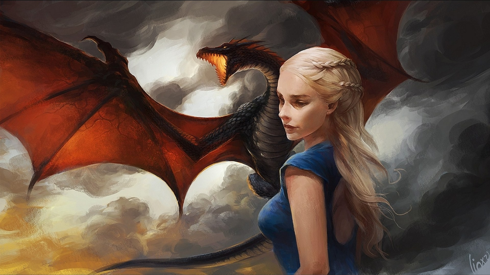 dragon game of thrones daenerys targaryen artwork paintings x