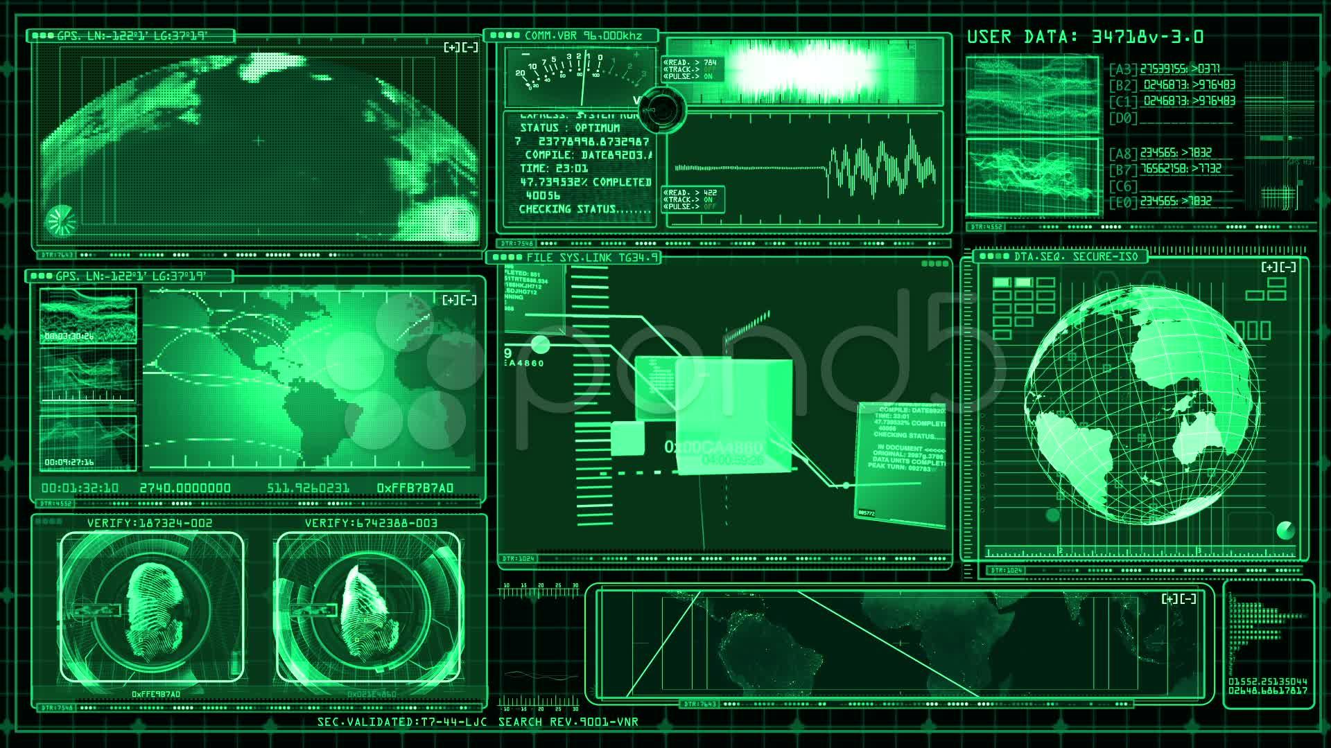 technology interface computer data screen gui stock video