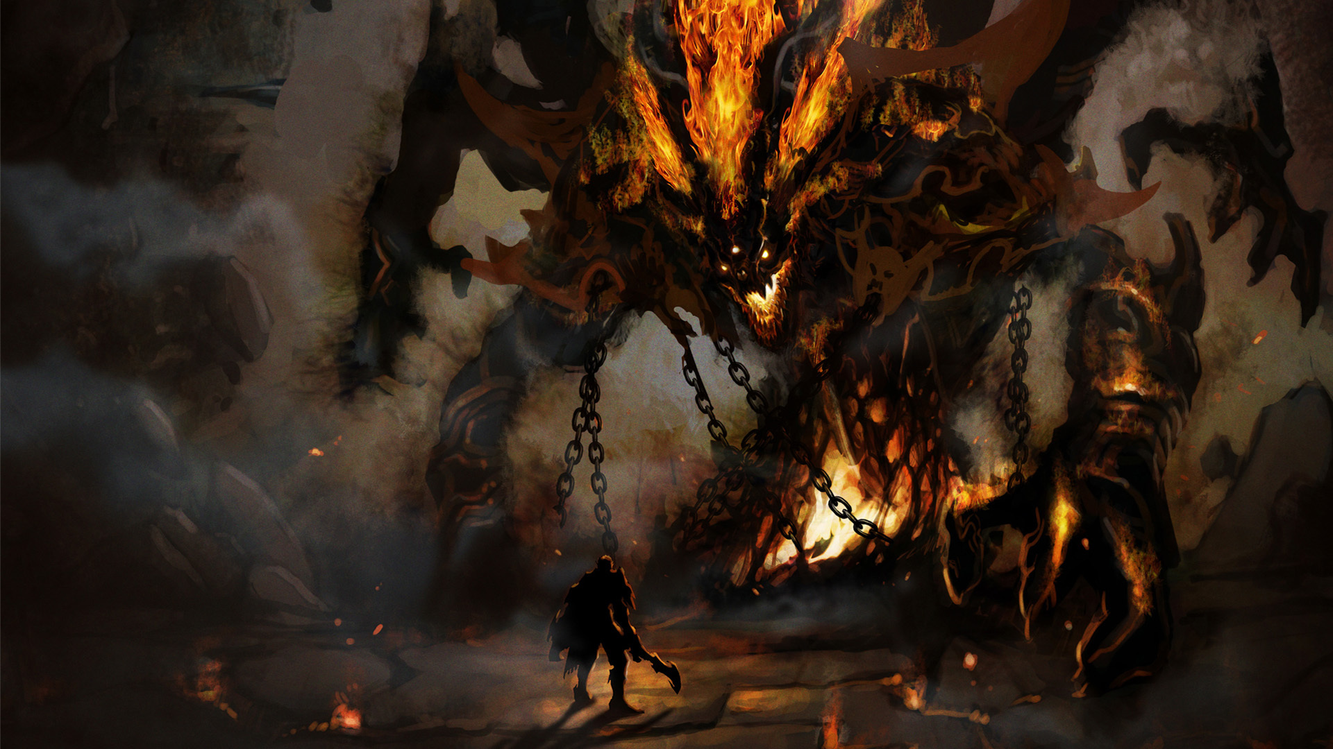 imagination, monsters, demon, colossus, hell, cyberpunk wallpapers et