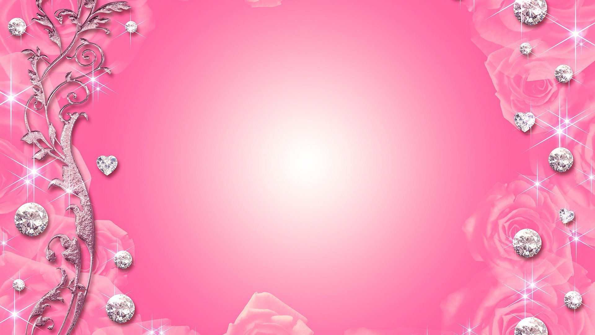 diamond heart n flowers pink backgrounds hd wallpapers