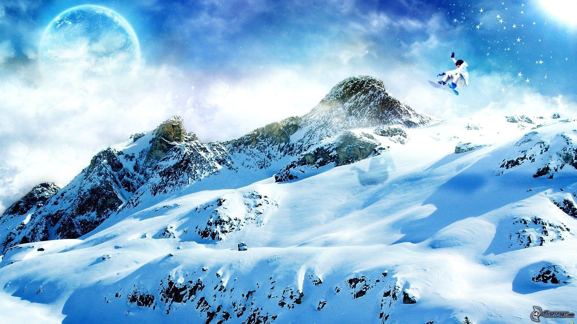 snowboard saut, l'adrénaline, paysage d'hiver, montagnes, neige