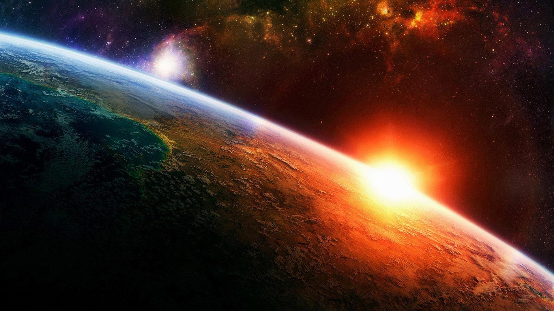 fond ecran : couché de soleil vue de l'espace id :  rubrique