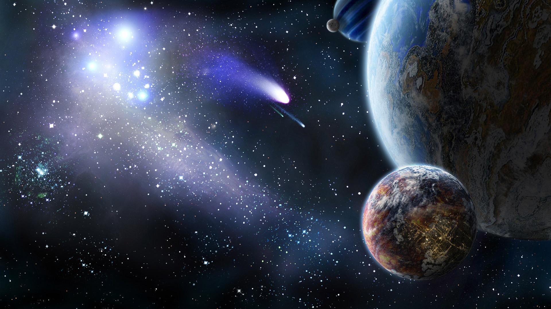 et la comète dans l'espace fonds d'écran x fonds d'écran