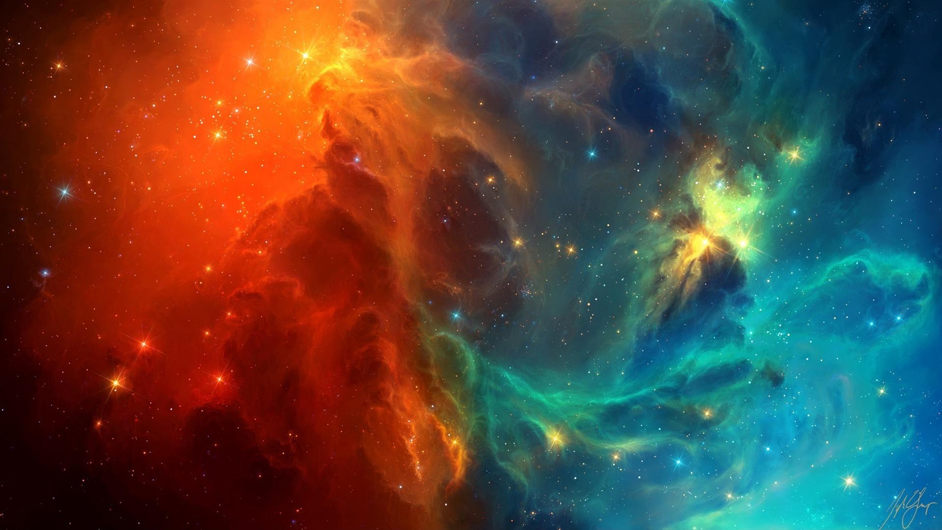 espace, galaxies bleues et rouges fonds d'écran x fonds