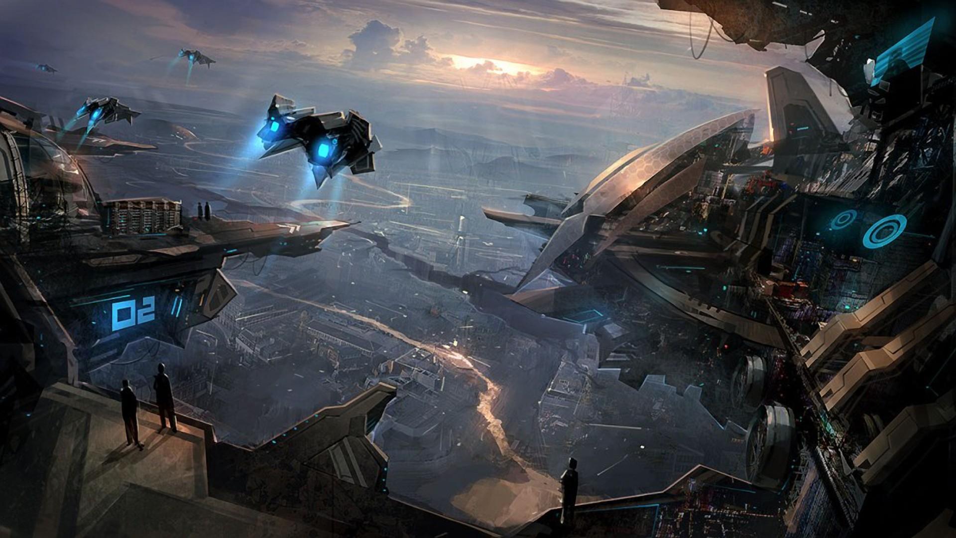 ships in the futuristic city hd wallpaper x