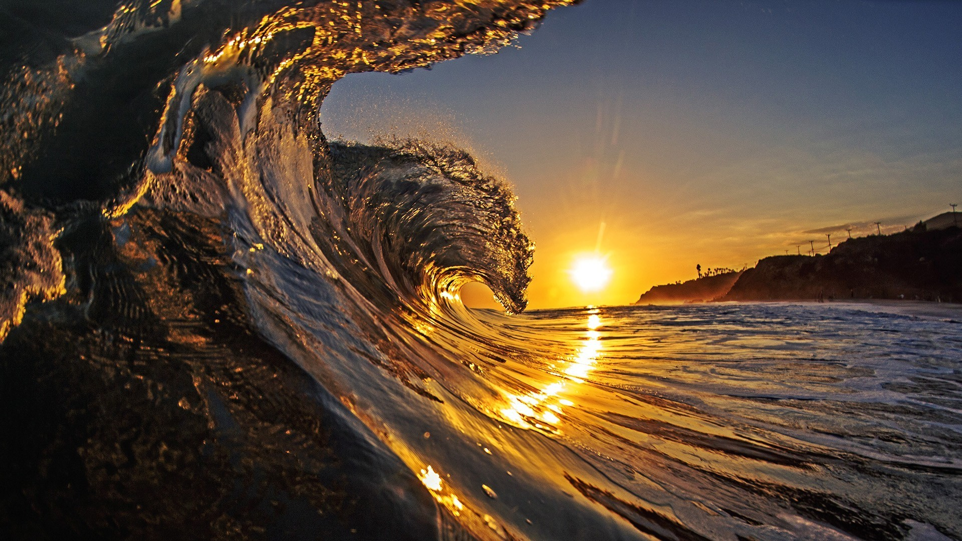 sunset surf hawaii beach wave ocean sand hd wallpaper