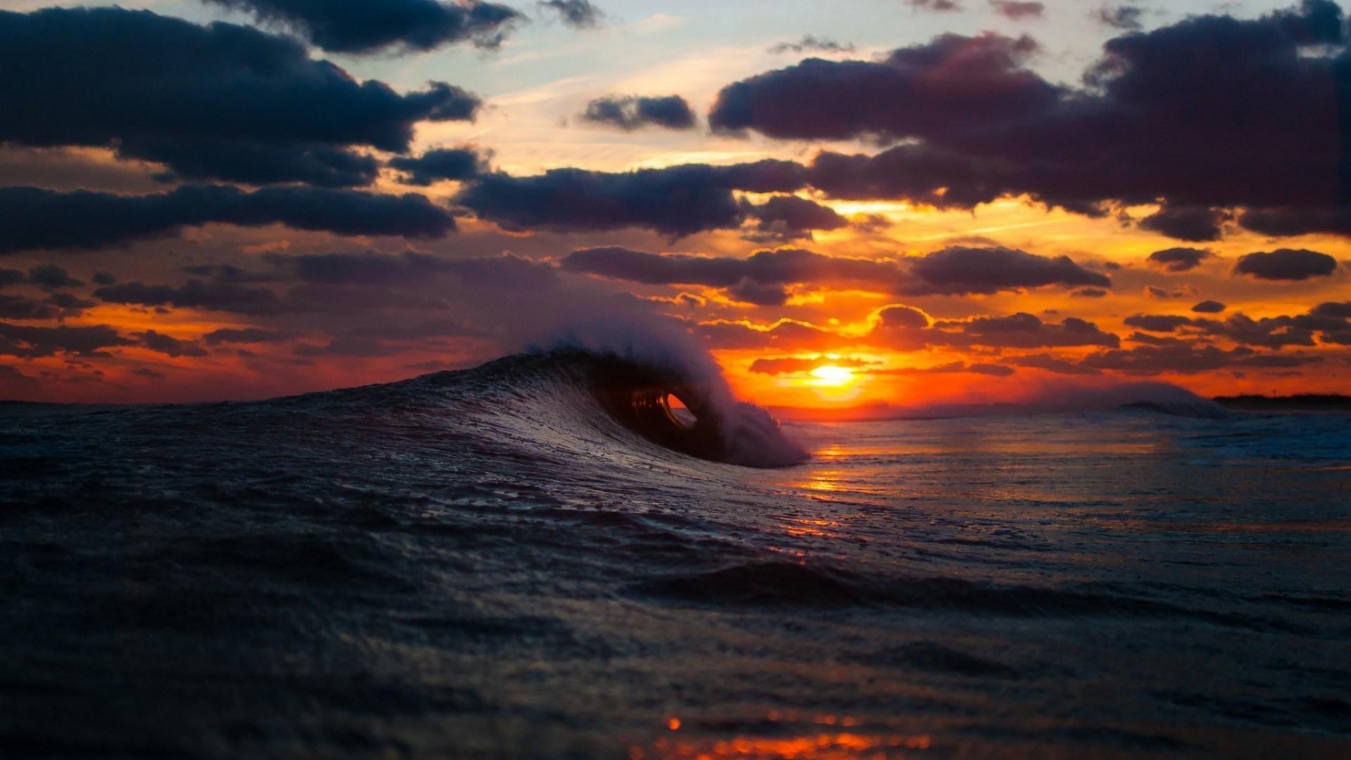 fond d'écran mer, surf, vague, coucher de soleil hd: écran large