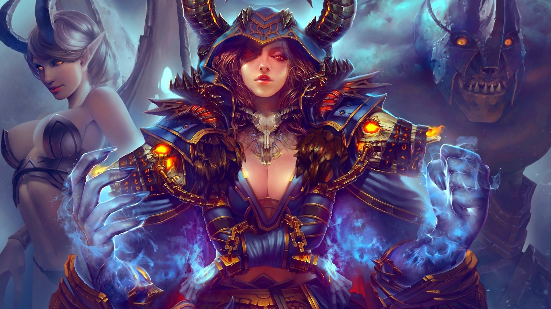 world de warcraft, peinture d'art, fille, monstre fonds d'écran