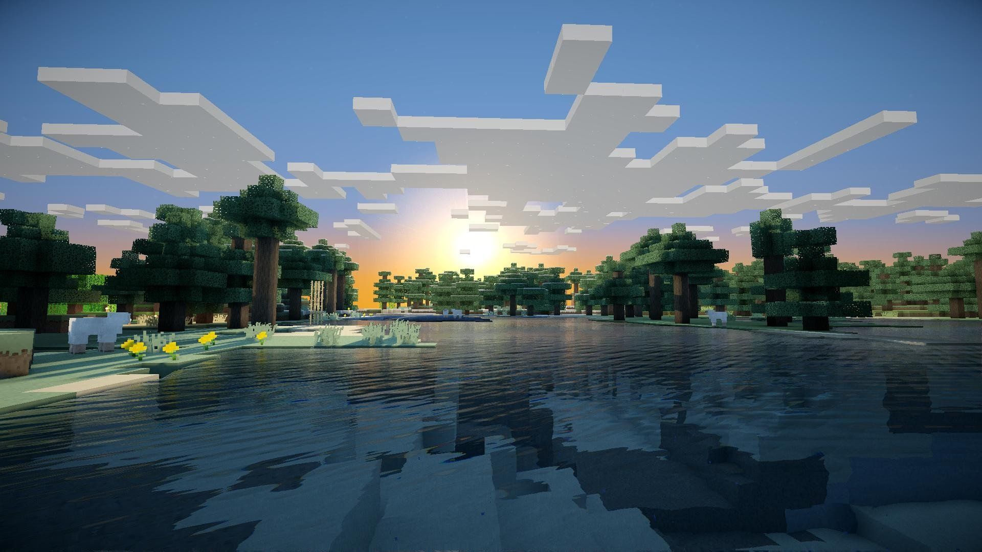 sunrise minecraft wallpaper 1920x1080 259680 wallpaperup
