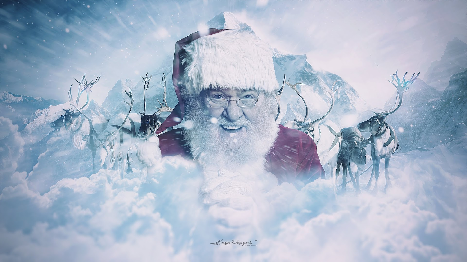 santa claus et his reindeer wallpapers :: hd wallpapers